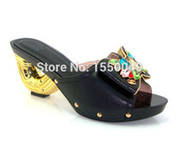 Cheap Wholesale-Free Shipping!! NO.15-17,black color Nigeria New arrival fashion nice matching lady shoes size 37 to 43 for shoes and bag set