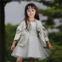 Wholesale Pettigirl Autumn Baby Girls Coat With Crystal Button And Woven Princess Girl White Outwear For Children Clothes OC80702