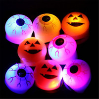 Halloween White Unisex Halloween LED Flashing Soft Rubber Eye Ring Kids Toys Novelty Design Party Decoration Supplies Christmas Gift For Adults and Children