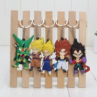 Multicolor ball super - 5pcs set Anime Dragon Ball Z Super Saiyan Son Gokou Vegeta Keychains PVC Key Chains Pendants
