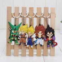 anime keychains - 5pcs set Anime Dragon Ball Z Super Saiyan Son Gokou Vegeta Keychains PVC Key Chains Pendants