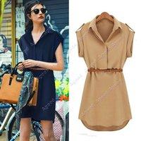Wholesale New Fashion Women s Cap Sleeve Stretch Chiffon Casual Shirt Mini Dress With Belt SV001455