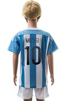 Wholesale 2015 MESSI argentina home kids soccer football jersey kit youth sport uniforms