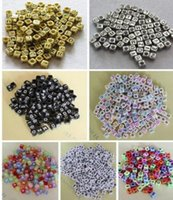 letter beads - Hot Mixed Alphabet Letter Acrylic Cube Loose beads x6mm color Choose