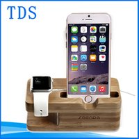 Wholesale Wood Stand Holder Charging Mount Anti Skid Docking Station Desktop Charger Hold Displayer Lazy Bracket Rack For Apple Watch Iphone Plus