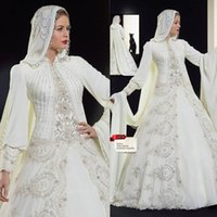 arab hats - Romantic hat Chiffon Muslim islamic abaya Wedding Dresses Ivory Lace Ball Gown Wedding Dress Arab long sleeves Amira Dress