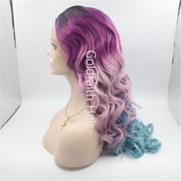 kanekalon wigs - SF7 Colorful Ombre Lace Wig Dark Root Purple Blue Ombre Wig Heat Resistant Fiber Kanekalon Stylish Ombre Wig