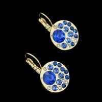 Wholesale Jewelry Earrings Brinco Zirconia Elegant Blue Round Rhinestone Women Perfume Hoop Earring Bijoux Femme