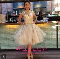 Wholesale 2014 New Arrival Prom Dresses High Neck Cap Sleeves Sheer Appliques Lace Champagne Tulle Short Cocktail Graduation Dresses BO6879