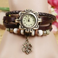 Wholesale New Hot Sale Original High Quality Women Genuine Leather Vine Watches Bracelet Wristwatches The Clover Pendant