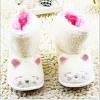baby shoe stride - Cartoon cat plush snow boots Baby Toddler Skid proof infant prewalker Shoes Crib Shoes Stride Rite First Walker drop shipping pears