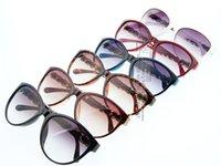 Wholesale Cat Eye Brand Vintage Sunglasses Women Eyewear Glasses Chain Temple Leather Trimmings AE0138