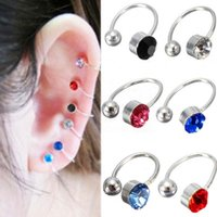 Wholesale 2pcs New Ear Clip Cuff Wrap Earrings Crystal Rhinestone Nose No piercing Clip on Women Men Party Jewelry Cheap Free Ship