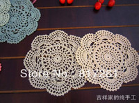 Wholesale pic cm round cotton crochet fabric doilies dinning table pot holder pad coasters mat colorful felt home