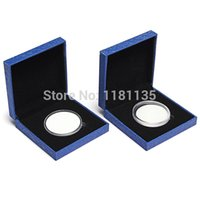 Wholesale Coin Medal Presentation Box Display Case Single Coin Blue Case with Capsule
