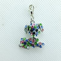 dog charms - New Arrival Fashion Exquisite Zinc Alloy Rhinestone Pet Dog Lobster Clasp Keyring Key Charms Jewelry