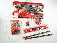 big pencil sharpener - Big Hero Kids Students Stationery Set Childrens Baymax Stationery Plastic pencil bag rubber ruler sharpener notebook gifts