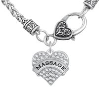 asian massages - Personalized For Gift Mental Word MASSAGE Pendant Thick Necklaces Clear Heart Necklaces Crystal Heart Lobster Clasp Chains Jewelry