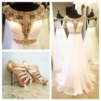 Wholesale 2015 White Sheer Crystal Chiffon Evening Dresses A line Empire Capped Sleeves Beaded Sash Pleated Floor Length Formal Cheap Party Prom Gowns