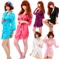 Polyester underwear - Sexy Lace Kimono Dress Gown Bath Robe Babydoll Lingerie Underwear Thong NY099