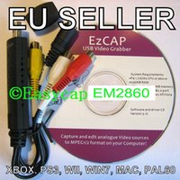 Wholesale Hot Sale EasyCAP DC60 v3 C XBOX PS3 Wii Grabber USB CAPTURE CARD HD Video to YT With Plastic Package