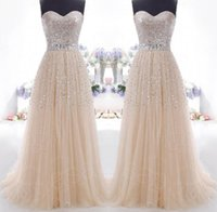 Wholesale Ball Gown Tulle Prom Dresses Bling Bling Champagne Vintage Sweetheart Sequined Bodice Crystal Floor Length Formal Evening Gowns