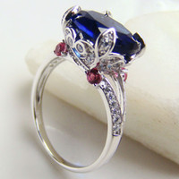 blue stone ring - 2015 Popular Zircon Ring Blue Sapphire Rings Big Stone Fashion Rings For Women Fine Silver Jewelry