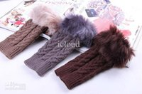 Wholesale Lovely Artificial Cony Hair Half Finger Gloves Cold proof Gloves Knitted Gloves Warming Gloves for G