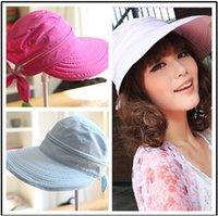 Wholesale Casual Womens Foldable Anti UV Wide Big Brim Outdoor Summer Beach Sun Hat Cap New arrival