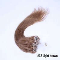 Cheap Hot Sell Micro Ring Hair Extension Staight Hair Extension 100% Human Hair #12 Light Brown Color Micro Ring Hair Loop Extensions