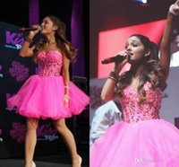 ariana grande dress - 2016 New Pink Ariana Grande Short Homecoming Dresses Crystal Beading Tulle Sweetheart Lace Up Short Party Gowns Cheap Prom Dresses