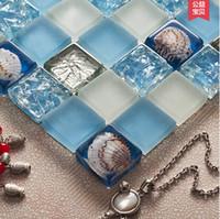 Wholesale KASARO Mediterranean shell mosaic tile mosaic glass tile backdrop bathroom