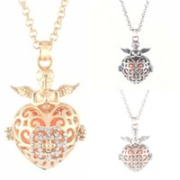 ball and chain heart necklace - Latest design fashion golden hollow out angel and wings sond ball with rhinestone pendant necklace for women
