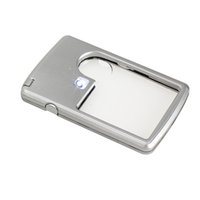 Wholesale Ultra Thin x x Magnifier LED Light Jewelry Loupe Credit Card Shape Silver Great for Reading and Jewelry Appraisal