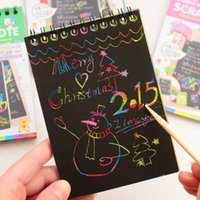 Wholesale 2015 Novelty Drawing Book DIY Scratch Graffiti Magic Note Sketch Black Cardboard Books For Kids Children Toy School Supplies