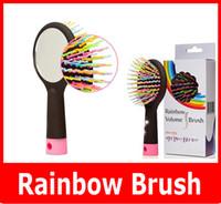 Wholesale Rainbow Volume Brush Magic hairbrush Massage anti static Brush for hair Tangle brush comb With Mirror