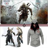 Wholesale Assassin s assassins Creed Conner Kenway Hoodie Coat Jacket Men s cosplay costume Clothing overcoat sport suit sweatshirt
