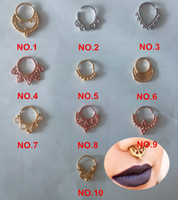 Wholesale new hot Surgical Steel Tribal Septum Nose Ring Faux Clicker Clip On piercing septum
