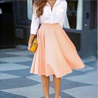 Wholesale Summer Style Women Casual Skirt New Fashion Elegant Solid High Waist Slim A Line Skirts Ladies Midi Skirt