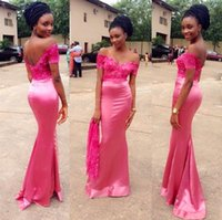 beautiful dresse - 2016 Beautiful Pink Satin Bridesmaid Dresse A line Deep V lace Appliques Off the shoulder Sweep Train Eveing prom dresses