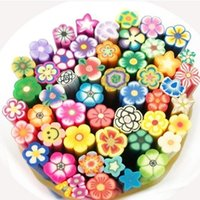 Cheap 50 Pcs Nail Art Stickers Clay Canes Rod Polymer Sticks Decoration Fruit Flower Dollhouse 5 Styles Nails DIY Tools Hotting