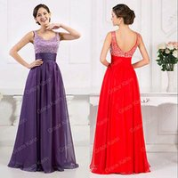ball dress uk - FG1511 Hot Red Purple Womens Summer Party Chiffon Evening Formal Prom Long Maxi Gown Dress UK size