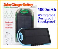 Wholesale Solar Battery Charger Solar Power Bank mah Backup External Power Bank for Samsung S3 S4 S5 HTC M7 M8 waterproof shockproof