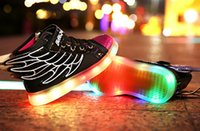 air flash - 2016 HOT NEW children Wings USB charging sneakers kids LED luminous shoes boys girls of colorful flashing lights size LED shoes shoe