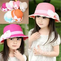 crochet hats wholesale - New Spring and Summer Children s Hat Hand Crochet Gauze Bow Hat Large Brimmed Sun Hat