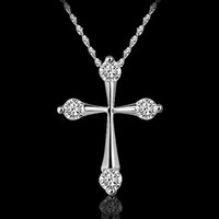 cross necklace crystal - Top Grade Silver Pendant Necklace Hot Sale Chain Necklaces Cross Crystal Pendants For Women Girl Party Gift Jewelry LDN