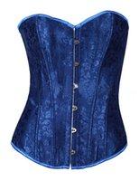 baroque corset - sexy deep blue flower print classic Baroque style elegant waist training corsets women new fashion hot sale size plus xxl