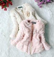Wholesale Girls Autumn Winter Fur Coat to years pc Children Outerwear Kids Sweet flower Jackets warm Clothing WQ005