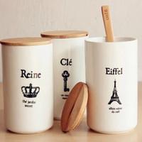 white ceramic mug - Zakka imitation enamel Ceramic Cup PC Tea Mugs White Retro Brief Eiffel tower Reine coffee Cups breakfast B4
