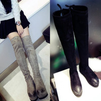 Wholesale high quality b091 genuine leather stretch platform thigh high boots black grey wedge flat luxury designer inspired